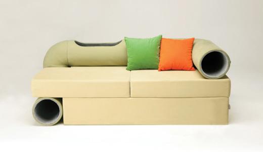 Canapea cu tunel pentru pisici