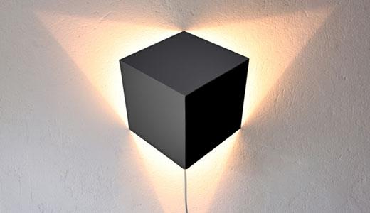 Lampa cu abajur cubic, joc de umbre si lumini