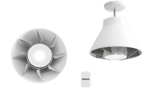 Ventilator tavan montat prin infiletare in dulia becului