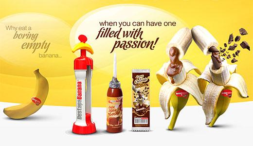 dispozitiv pentru umplere banane cu cremă ciocolata